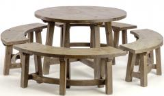 Pierre Chapo Pierre Chapo style brutalist organic complete dinning set with round benches - 1649059