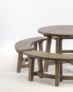 Pierre Chapo Pierre Chapo style brutalist organic complete dinning set with round benches - 1649060