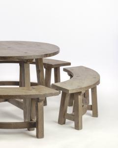 Pierre Chapo Pierre Chapo style brutalist organic complete dinning set with round benches - 1649061