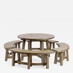 Pierre Chapo Pierre Chapo style brutalist organic complete dinning set with round benches - 1650886