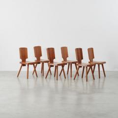 Pierre Chapo Set of 12 S28 Pierre Chapo dining chairs Chapo SA France c 1972 - 1208373