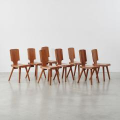 Pierre Chapo Set of 12 S28 Pierre Chapo dining chairs Chapo SA France c 1972 - 1208382
