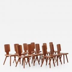 Pierre Chapo Set of 12 S28 Pierre Chapo dining chairs Chapo SA France c 1972 - 1210484