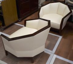 Pierre Chareau Pierre Chareau pair of modernist Makassar lounge chairs - 774948