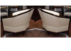 Pierre Chareau Pierre Chareau pair of modernist Makassar lounge chairs - 774957