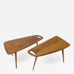 Pierre Cru ge Rare pair of 1950s solid oak tripod side table Stylus Model 44 FORMES Editions - 1656181