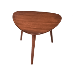 Pierre Cru ge Series of 3 1950s French mahogany tripod stools - 1654190