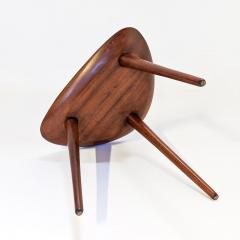 Pierre Cru ge Series of 3 1950s French mahogany tripod stools - 1654193