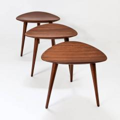 Pierre Cru ge Series of 3 1950s French mahogany tripod stools - 1654194