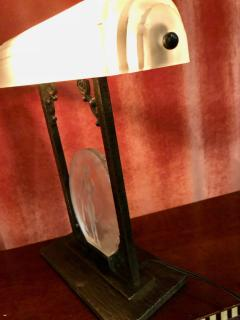 Pierre DAvesn Rare Pierre D Avesn French Art Deco Acid Etched Table Lamp - 1352478