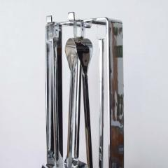Pierre Guariche Mid Century Chrome Plated French Fire Tool Fireplace Set Guariche Style - 1893005