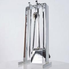 Pierre Guariche Mid Century Chrome Plated French Fire Tool Fireplace Set Guariche Style - 1893011
