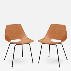 Pierre Guariche Pair of Bent Plywood Tonneau Side Chairs by Pierre Guariche - 954474