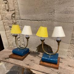 Pierre Guariche Pair of Totally French Vintage Table Lamps in Blue White Yellow FRANCE 1950s - 2083194