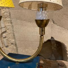 Pierre Guariche Pair of Totally French Vintage Table Lamps in Blue White Yellow FRANCE 1950s - 2083195