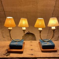 Pierre Guariche Pair of Totally French Vintage Table Lamps in Blue White Yellow FRANCE 1950s - 2083196