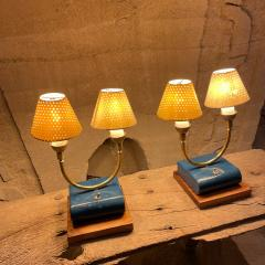 Pierre Guariche Pair of Totally French Vintage Table Lamps in Blue White Yellow FRANCE 1950s - 2083197