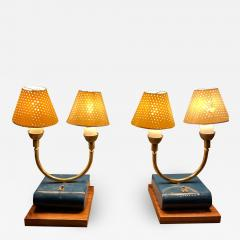 Pierre Guariche Pair of Totally French Vintage Table Lamps in Blue White Yellow FRANCE 1950s - 2083751