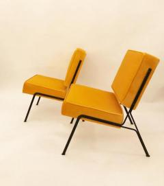 Pierre Guariche Pierre Guariche Two Pairs Of Mid Century Slipper Chairs In  Canary Yellow Velvet