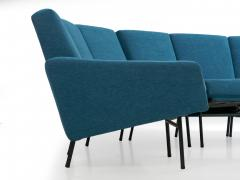 Pierre Guariche Rare Vintage Two Part Blue Upholstered Model L 10 Curved Sofa by Pierre Guariche - 1126835