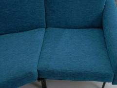 Pierre Guariche Rare Vintage Two Part Blue Upholstered Model L 10 Curved Sofa by Pierre Guariche - 1126837