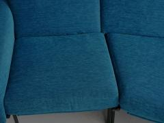 Pierre Guariche Rare Vintage Two Part Blue Upholstered Model L 10 Curved Sofa by Pierre Guariche - 1126839