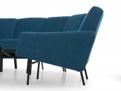 Pierre Guariche Rare Vintage Two Part Blue Upholstered Model L 10 Curved Sofa by Pierre Guariche - 1126840