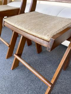 Pierre Jeanneret Pair of Compas Wood Counter Stools Italy - 2133893