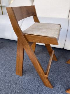 Pierre Jeanneret Pair of Compas Wood Counter Stools Italy - 2133894