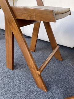 Pierre Jeanneret Pair of Compas Wood Counter Stools Italy - 2133896