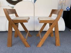 Pierre Jeanneret Pair of Compas Wood Counter Stools Italy - 2133897