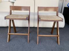 Pierre Jeanneret Pair of Compas Wood Counter Stools Italy - 2133898