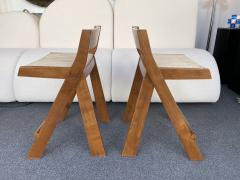 Pierre Jeanneret Pair of Compas Wood Counter Stools Italy - 2133900