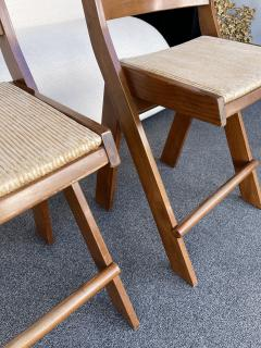 Pierre Jeanneret Pair of Compas Wood Counter Stools Italy - 2133902