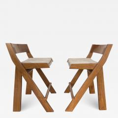 Pierre Jeanneret Pair of Compas Wood Counter Stools Italy - 2134733