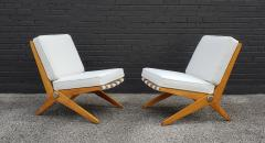 Pierre Jeanneret Pierre Jeanneret Scissor Lounge Chairs for Knoll Associates in Birch Boucle - 1835334