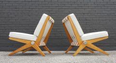 Pierre Jeanneret Pierre Jeanneret Scissor Lounge Chairs for Knoll Associates in Birch Boucle - 1835337