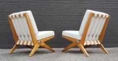 Pierre Jeanneret Pierre Jeanneret Scissor Lounge Chairs for Knoll Associates in Birch Boucle - 1835338
