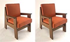 Pierre Jeanneret Pierre Jeanneret attributed pair of modernist oak chair - 1519235