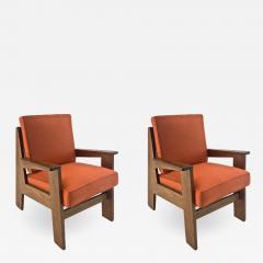 Pierre Jeanneret Pierre Jeanneret attributed pair of modernist oak chair - 1522993