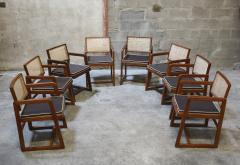 Pierre Jeanneret Pierre Jeanneret set of 8 Cane Back Office Chairs with original Letterings - 1963781