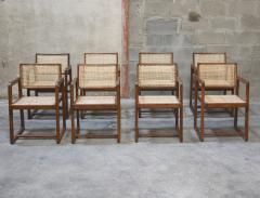 Pierre Jeanneret Pierre Jeanneret set of 8 Cane Back Office Chairs with original Letterings - 1963782