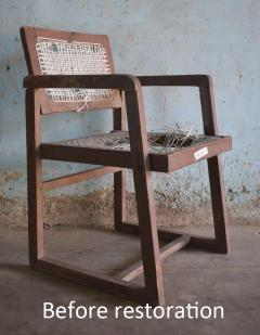 Pierre Jeanneret Pierre Jeanneret set of 8 Cane Back Office Chairs with original Letterings - 1963799