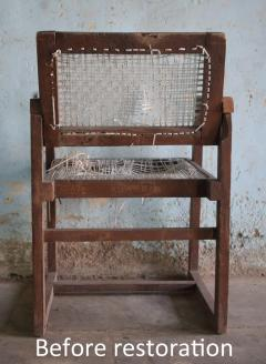Pierre Jeanneret Pierre Jeanneret set of 8 Cane Back Office Chairs with original Letterings - 1963800