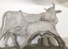 Pierre Jules Mene Pierre Jules MENE 1810 1879 Cow and her calf plaster model France circa1850 - 1620026