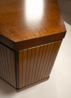 Pierre Paulin Custom Made French Ribbon Mahogany Solid Oak Trapezoidal Pierre Paulin Desk - 1535403