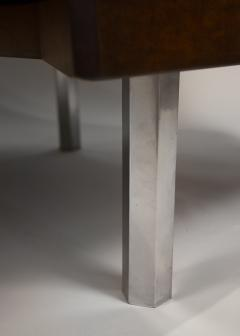 Pierre Paulin Custom Made French Ribbon Mahogany Solid Oak Trapezoidal Pierre Paulin Desk - 1535406