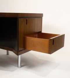 Pierre Paulin Custom Made French Ribbon Mahogany Solid Oak Trapezoidal Pierre Paulin Desk - 1535408