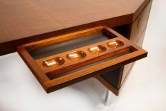 Pierre Paulin Pierre Paulin Desk Custom Made Hexagonal French Ribbon Mahogany Solid Oak - 1561133