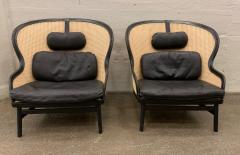 Pierre Sindre Pair Danish Leather and Cane Lounge Chairs by Pierre Sindre for Garsnas - 935103